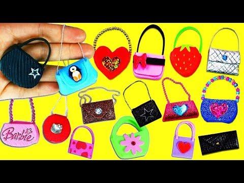20 DIY Barbie Doll Miniature Purse, Handbag, Bag - 20 Different Styles  - simplekidscrafts