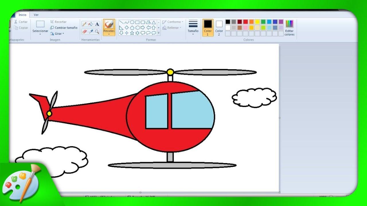 Dibujos Para Niños: Cómo Dibujar Un Helicoptero Con Paint