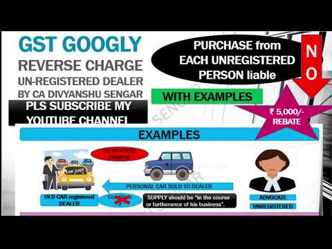 GST REVERSE CHARGE in case of SUPPLY from Unregistered Dealer explained in HINDI*