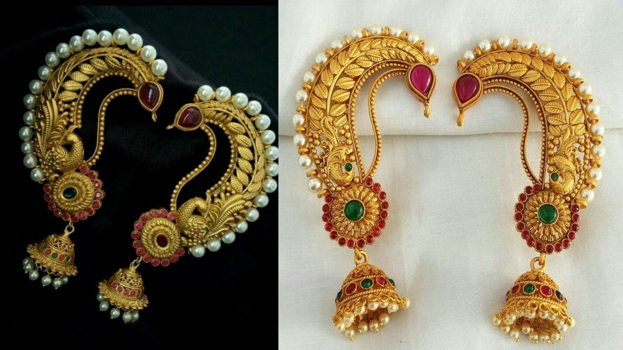 Traditional Gold Ear Cuff Earrings Designs
