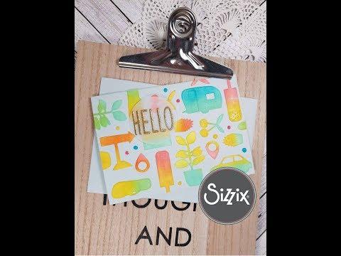 Coloring in die cuts in summer colors-Sizzix diy