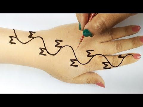 आसान rakhi/ तीज स्पेशल मेहँदी लगाना सीखे - M अक्षर से मेहँदी लगाने की ट्रिक, M Letter Mehndi Design