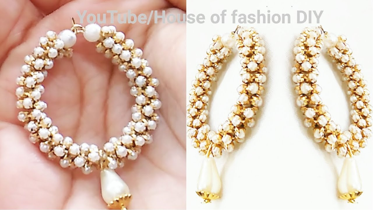 How To Make Party ware Silk thread Earrings||Hoop Earrings||Pearl ...