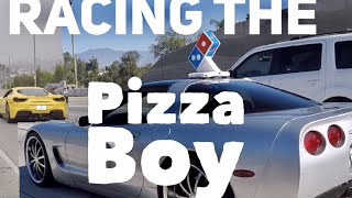 Nitrous Powered Pizza Delivery Boy Challenges Ferrari and Porshe 911 S