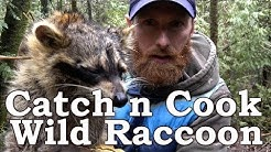 Eating and Cleaning WILD RACCOON!!! | De-glanding | OPEN FIRE | How To To Trap Raccoon
