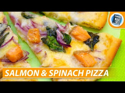 Pizza recipe: Salmon Pizza with Spinach (pizza dough without yeast)