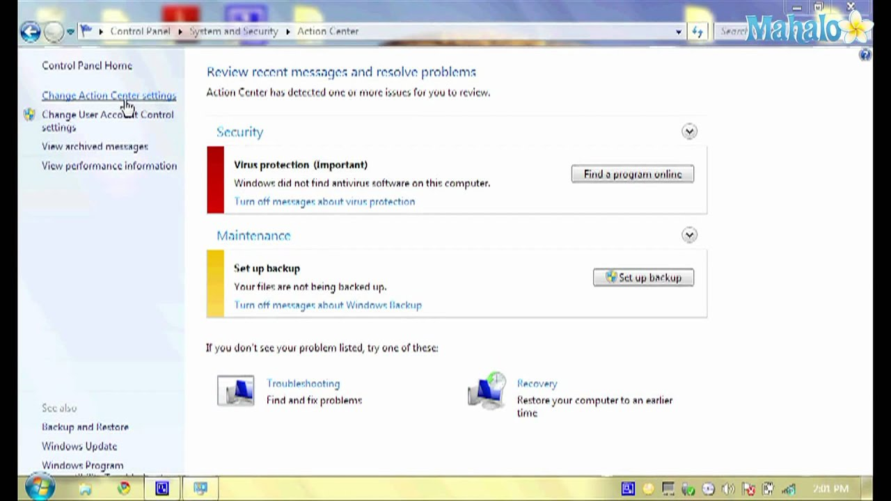 change windows security settings win 7