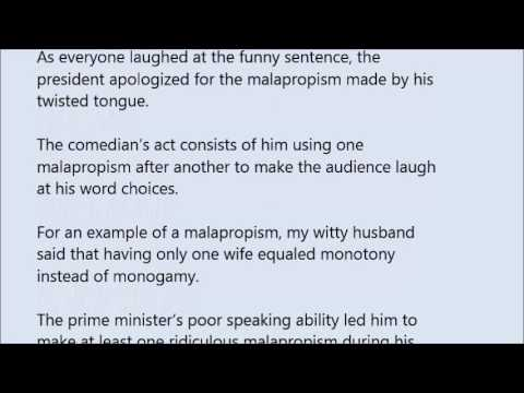 Malapropism Word In Sentence With Pronunciation Youtube