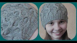 Вязание стильной шапки спицами. Схема. Видео урок.