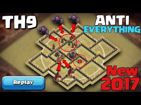 TH9 War Base ANTI EVERYTHING NEW 2017 with REPLAY PROOF - Clash of Clans