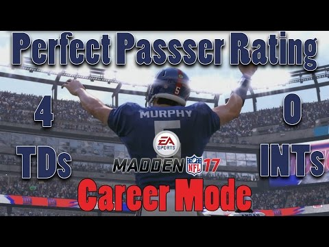 Madden 17 Career Part 13 - PERFECT PASSER RATING! No Picks! It