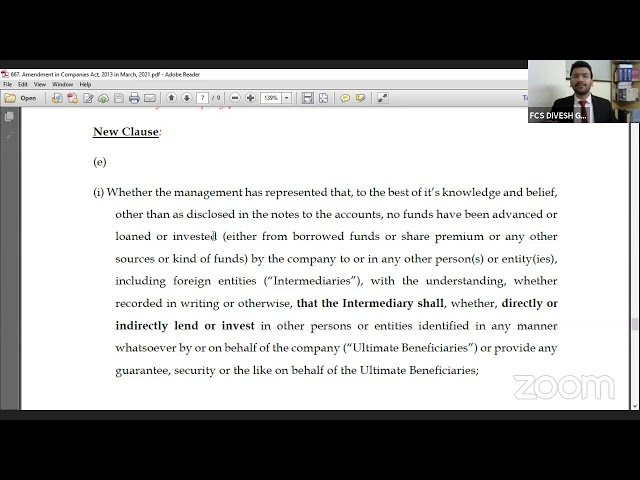 March - 2021 Amendment in Companies Act, 2013