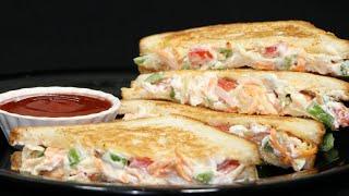 सुबह का नाश्ता हो या बच्चों का टिफिन हो सिर्फ 5 मिनट मे तैयार करें तवा ब्रेड सेन्डविच| Tawa Sandwich