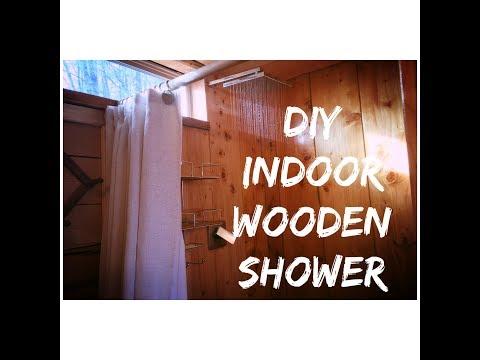 DIY indoor wooden shower