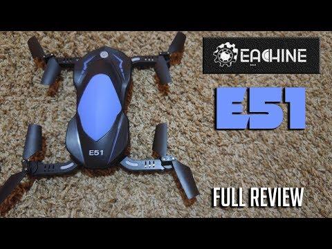 Eachine E51 720p WIFI FPV Foldable Drone Review & Test Flight