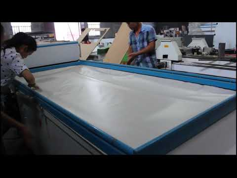 MDF door making by PVC film vacuum membrane press machine for  wood kitchen cabinet