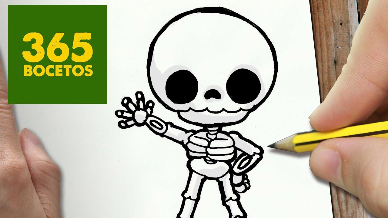 Como Dibujar Esqueleto Kawaii Paso A Paso Dibujos Kawaii Faciles
