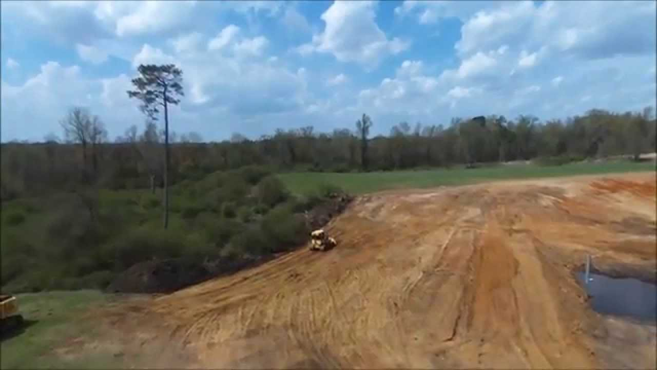 Drone video of pond dam construction youtube for Small pond dam design