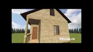 """3D проект дома из бруса """"Сундучок""""."""