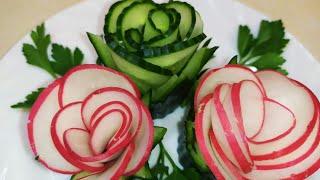 Красивые УКРАШЕНИЯ из овощей. Украшения для ОВОЩНОЙ НАРЕЗКИ и салатов