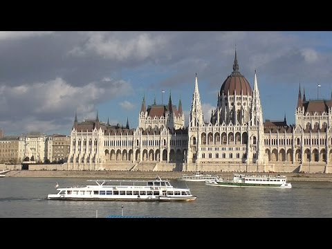 Ships and boats on the Danube at Budapest