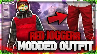 GTA 5 Red Joggers TryHard Modded Outfit Using Clothing Glitches 1.46!