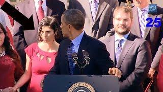 Obama Afferra al Volo Donna Incinta che Sviene Durante Discorso Casa Bianca