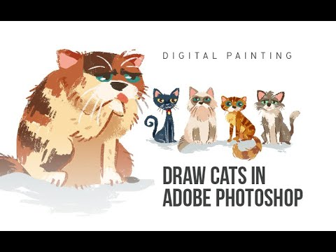 DRAW CUTE CATS IN ADOBE PHOTOSHOP (DIGITAL PAINTING)