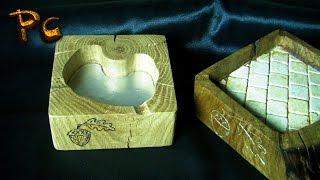 Ashtray made of wood oak. Пепельница из дуба