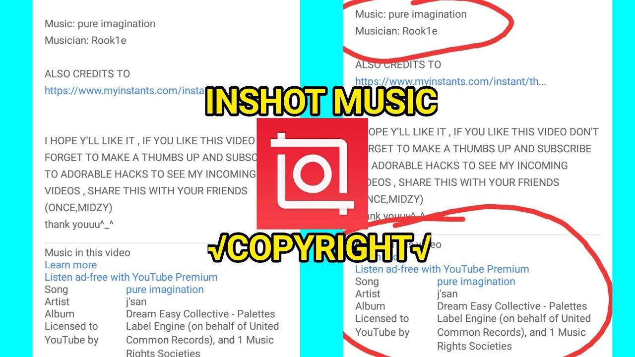 Inshot Music That Copyright In Youtube Adorable Hacks Youtube