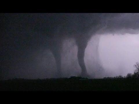 TWIN TORNADOES AT NIGHT! April 9, 2011 - northwest Iowa