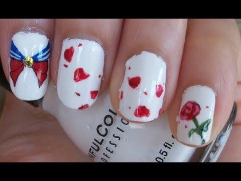 sailor moon inspired nail art design
