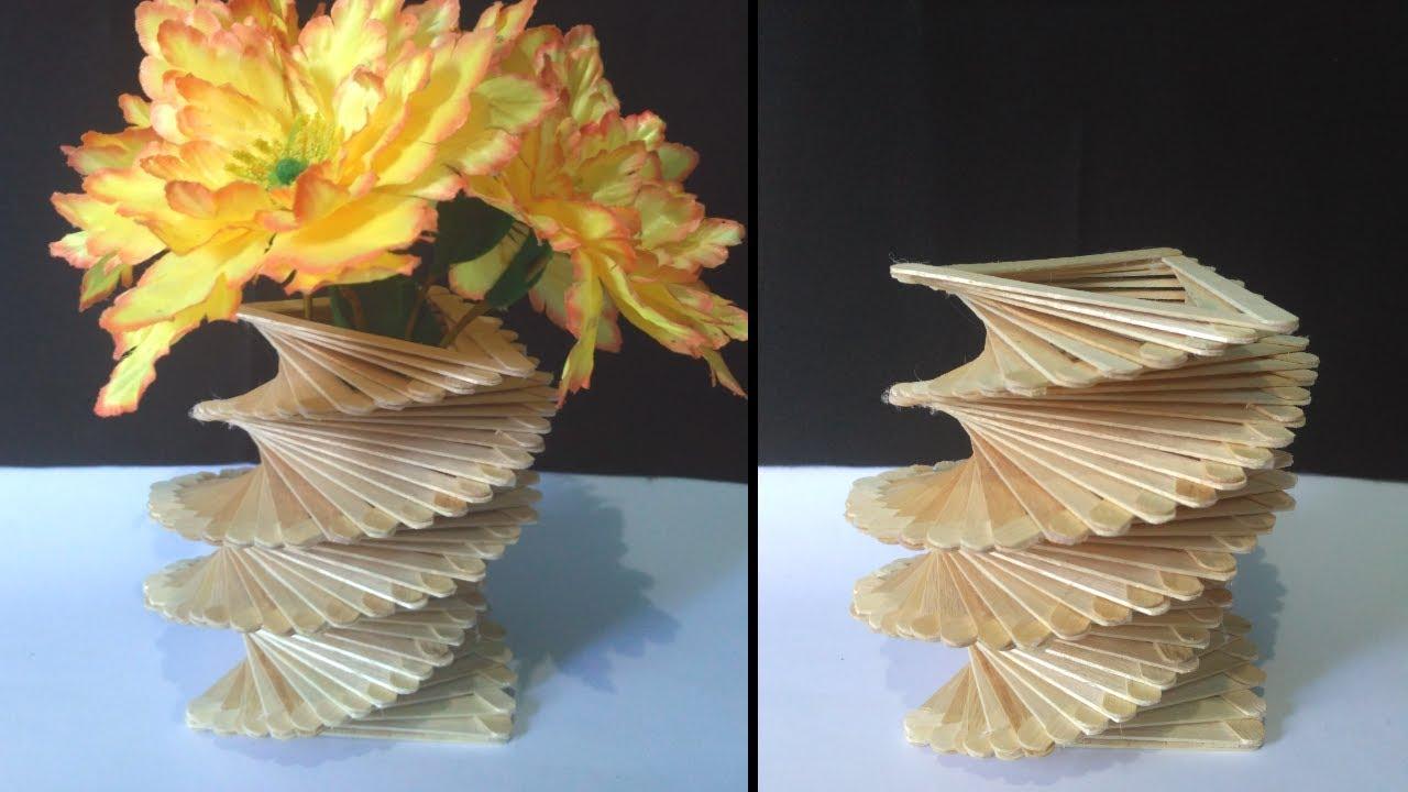 Ide Kreatif Dan Menakjubkan Dari Stik Es Krim Cara Mudah Membuat Vas Bunga Dari Stik Es Krim Youtube