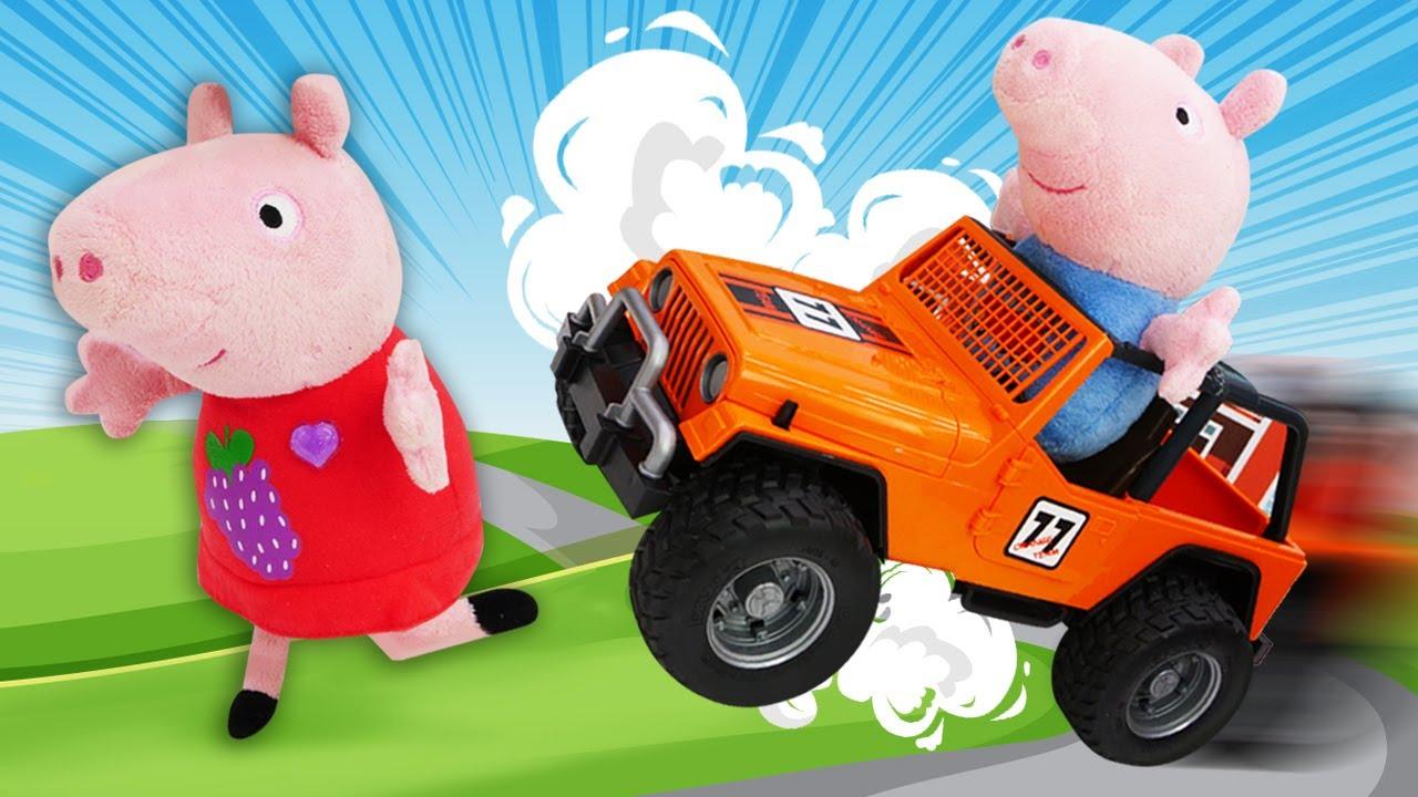 O carro do Papai Pig perdeu o controle! Peppa Pig e sua família em português