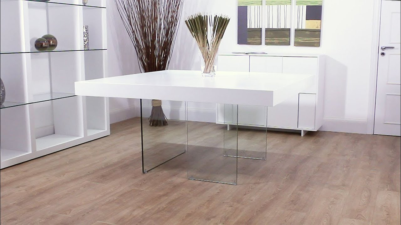 Aria White Oak And Glass Square Dining Table