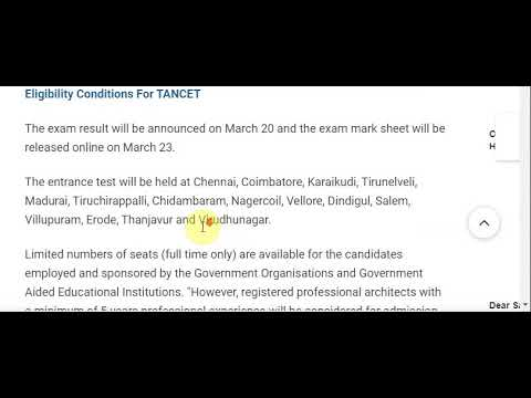 Tamil Nadu Common Entrance Test (TANCET) Registration Begins On January 7