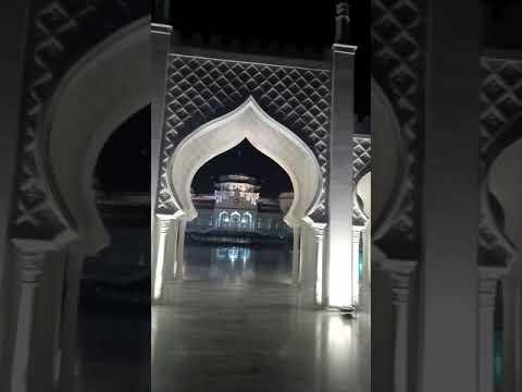 Beautiful view of grand mosque baiturrahman banda aceh at night,