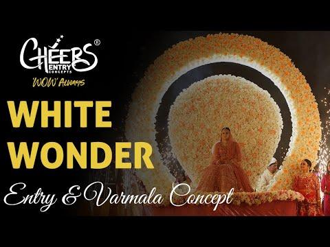 New White Wonder Grand Jaimala Couple Bride Groom Wedding Entry Concepts Themes Varmala Best Top