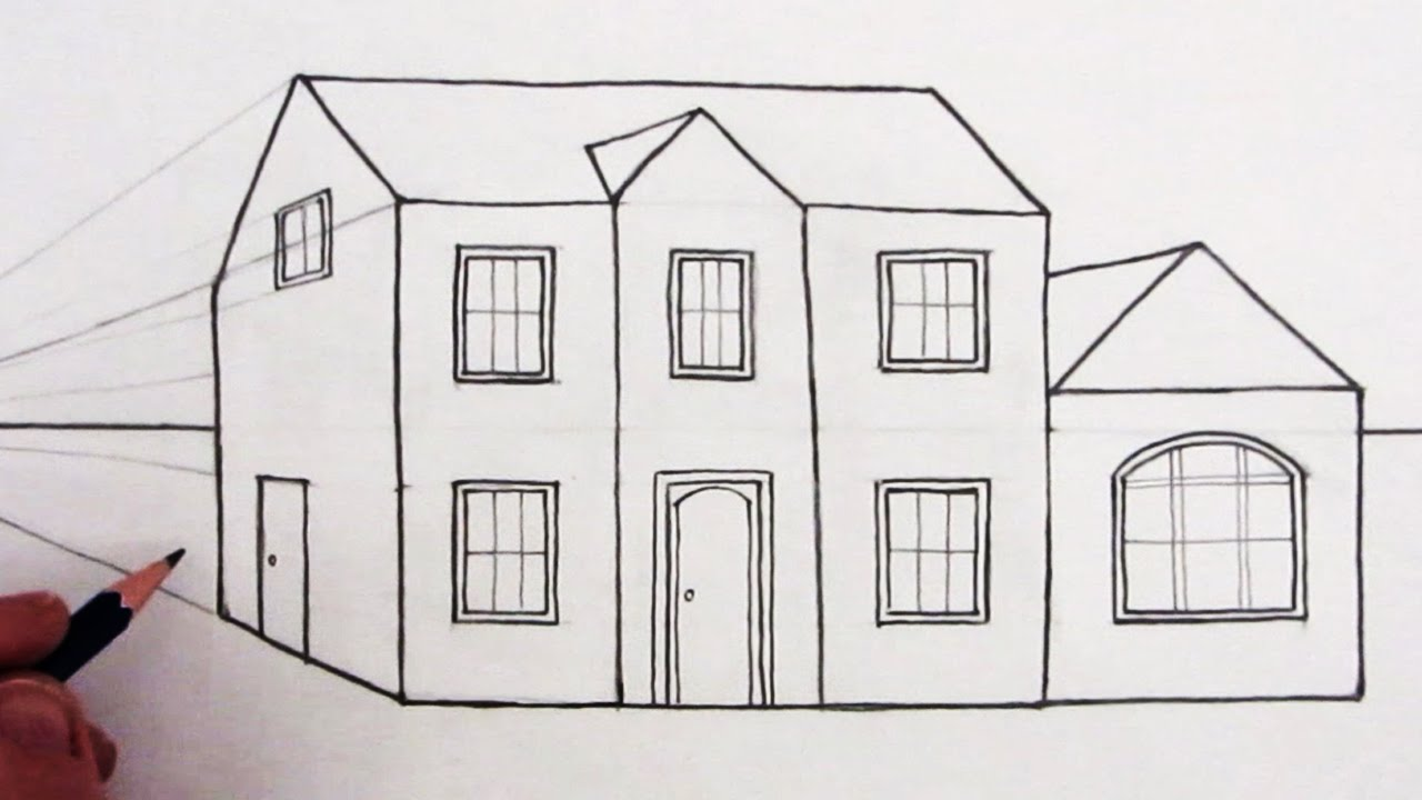 how to draw a house in 1 point perspective narrated youtube - House Drawing Easy
