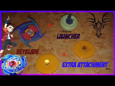"""How to make (Beyblade with launcher + extra attachment)""""DIY Beyblade"""" very easy"""""""