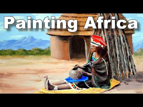 how to paint an african scene zulu time lapse painting tutorial