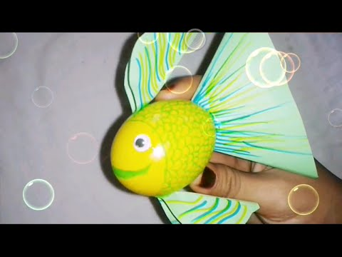 Diy Fish Using Egg Shell Craft For Kids Youtube