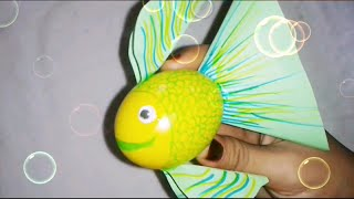 DIY Fish using egg shell ; craft for kids