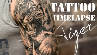 Realistic Tiger - 10 hours in 10 minutes - Tattoo Timelapse