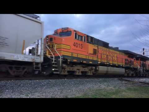Kansas BNSF Freight Train Northbound . Two pulling one pushing.