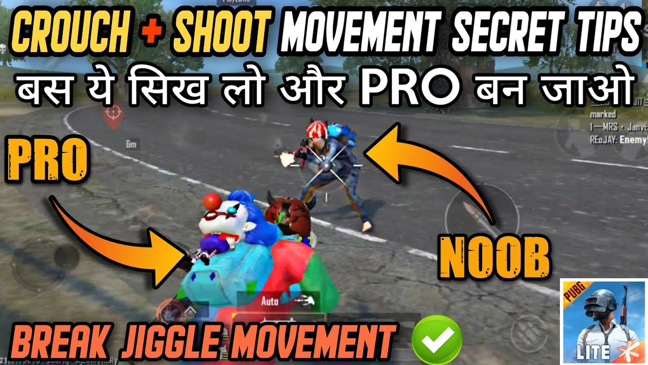CROUCH MOVEMENT BEST SECRET TIPS AND TRICKS IN PUBG MOBILE LITE || CROUCH + SHOOT + JIGGLE MOVEMENT