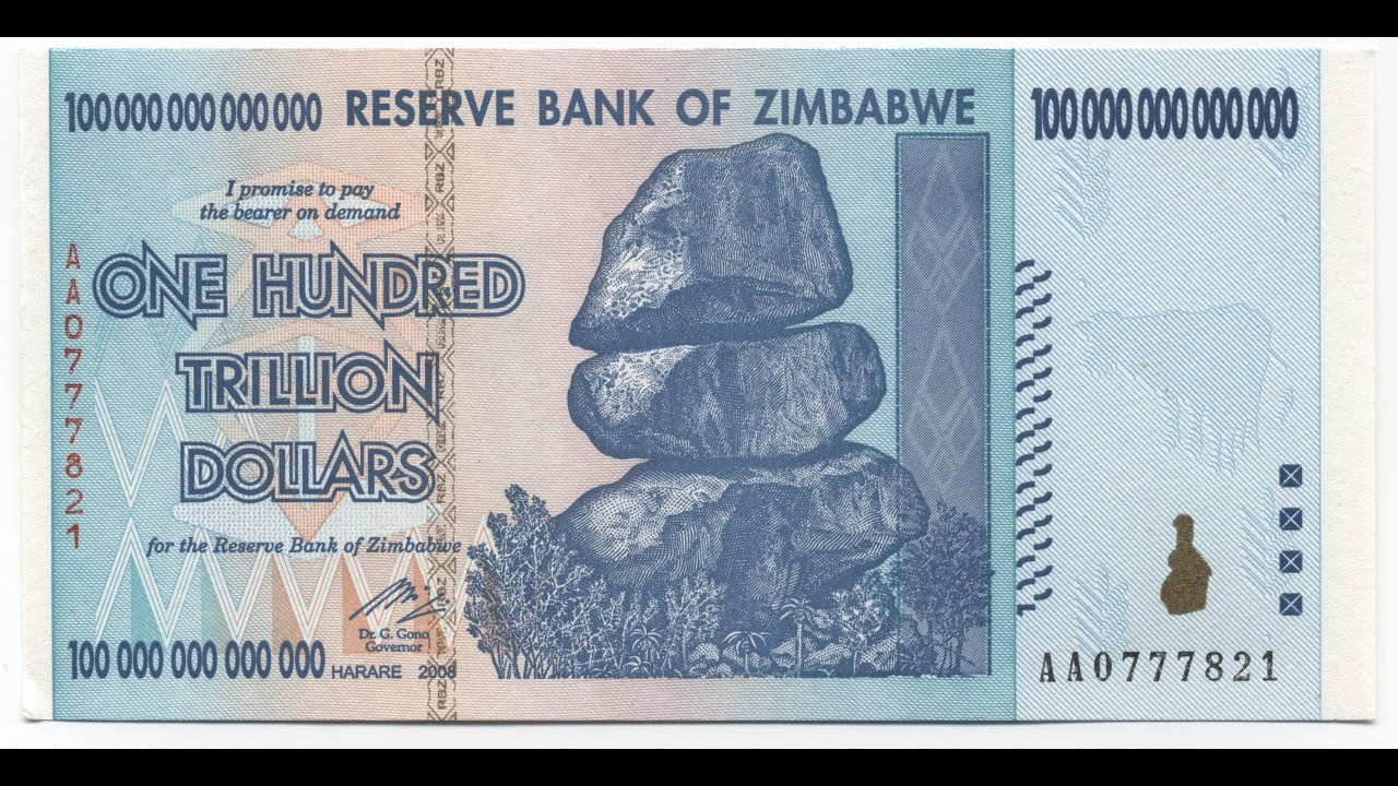 100 Trillion Zimbabwe Dollars Reserve Bank Zim Dollar 40 Cents You