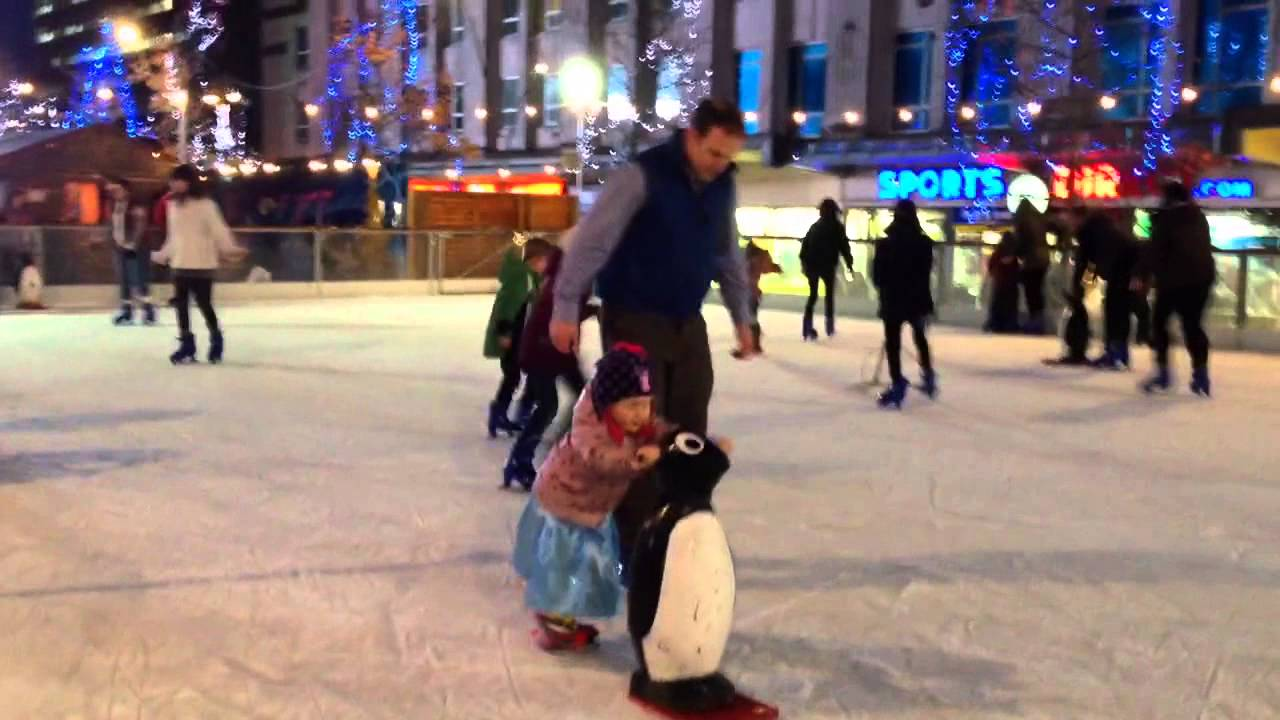 Ice Skating Penguin In Plymouth City Centre Youtube