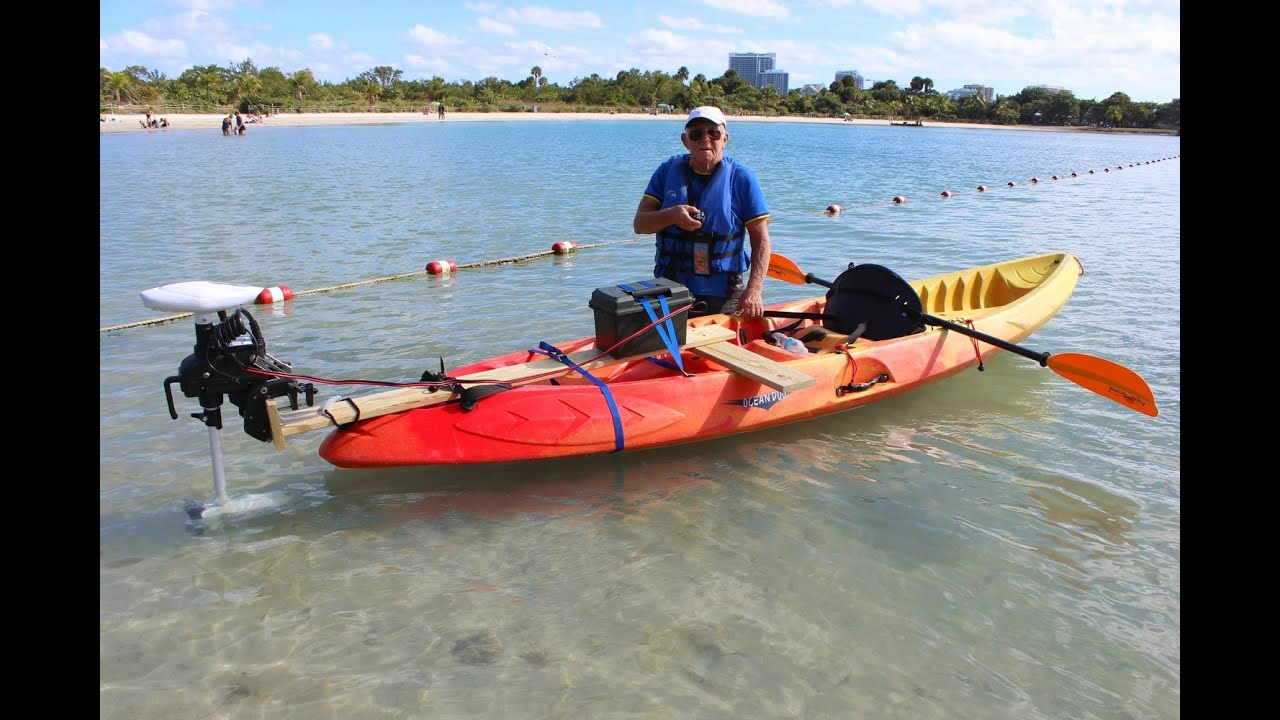 Rc Trolling Motor Installed On Regular Kayak Youtube