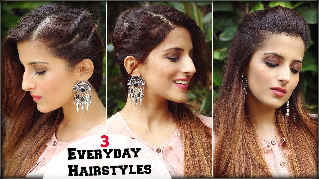 1 Min CUTE Everyday Simple & Effortless Hairstyles For ...